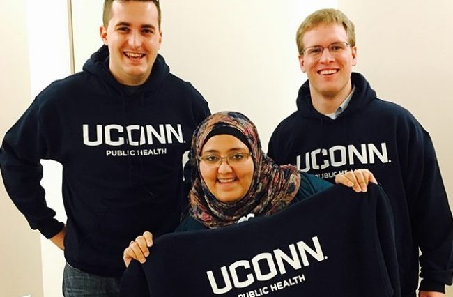 students with Public Health sweatshirts